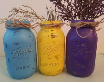 Distressed Blue, Yellow, and Purple Mason Jar, Painted Mason Jar, Wedding, Baby Shower