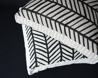 Herringbone Black/ Brushstroke White 45cm x 45cm box cushion - Hand screen printed