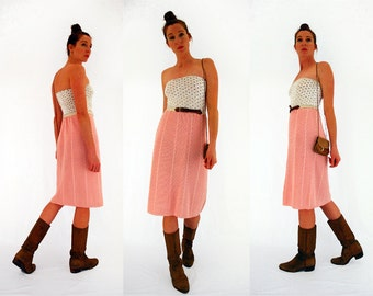 pink knitted skirt, 70s winter skirt, pink midi skirt, pastel pink knit, stretch knit, girly skirt, pale pink, vintage 1970s, small - medium