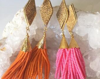Gold Druzy Beaded Tassel Earring