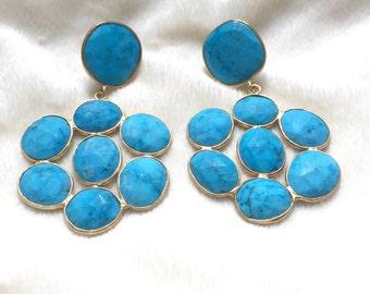 Turquoise Gemstone Cluster Earrings