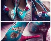 LAST PAIR, Alice in wonderland shoes, Alice in wonderland wedding, mad hatter, white rabbit, ladies shoes, mid heels, bridal shoes, wedding