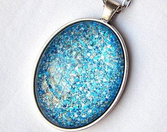 Blue Glass Pendant Necklace; Glitter Nail Polish Jewelry; Hand Painted Glass Oval Pendant; Antique Silver Oval Necklace; Blue Glass Jewelry