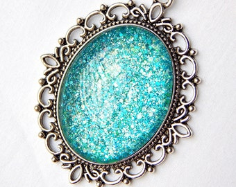 Teal Green Pendant; Oval Glass Pendant Necklace; Glitter Nail Polish Jewelry; Teal Necklace; Painted Glass Oval Pendant; Turquoise Jewelry