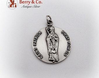 SaLe! sALe! Vintage Saint Patrick Medallion Pendant Sterling Silver