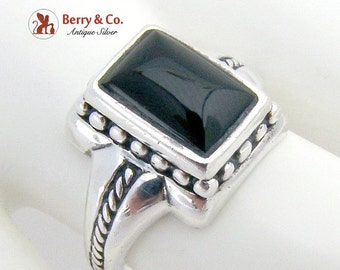 SaLe! sALe! Stylish Beaded Wire Sterling Silver Onyx Ring