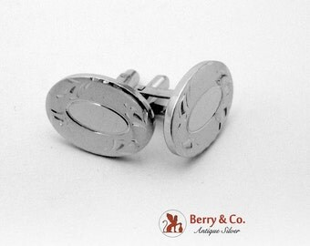 SaLe! sALe! Aesthetic Engraved Oval Cuff Links Sterling Silver Dunhill 1970