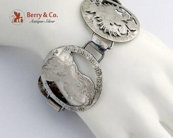 Wide Coin Bracelet Antique Austrian Silver Coins