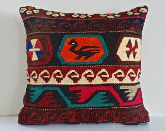 Kilim Pillow, Turkish Throw Pillow,  Decorative Pillow Accent Pillow Bohemian Pillow Vintage Kilim Pillow Cover Old Cushion Retro Pillow
