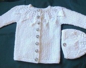 White Baby Aran Jacket & Hat