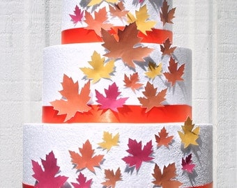 Fall Wedding Cake Topper, Fall Leaves Maple Leaves, Set of 24 DIY Cake Decor, Fall Edible Cake Decorations, DIY Wedding Cake, Edible Cake