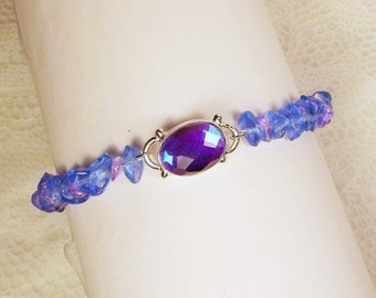 "Cynthia Lynn ""SPELLBOUND"" Sterling Silver Blue and Purple Mystic Topaz Gemstone Beaded Bracelet"