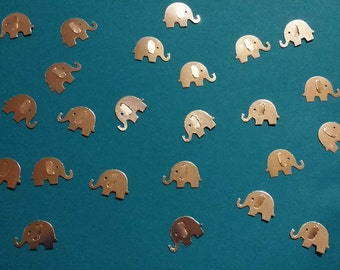 250 Double Sided Elephants Cut From Silver Shiny Card Stock - Baby Showers - Christenings - Confetti - Table Scatter - Endless Possibilities