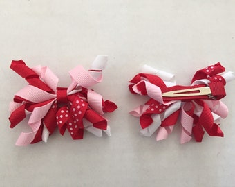 """Set of Pink, Red, and White Korker Hair Clips 3"""""""