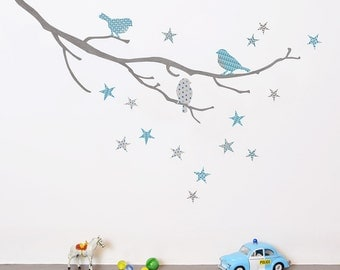 Mini Birds on a Branch fabric wall stickers
