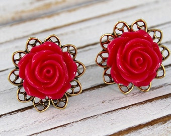 Peony Pink Rose - vintage style antique brass rose post earrings - Secret Garden Collection