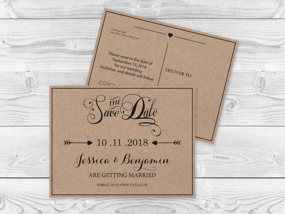 Kraft Paper Save The Date Postcard Templates Rustic