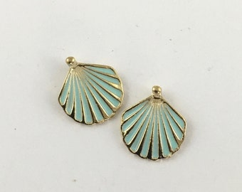 2 shell charms enamel and gold tone 16mm #CH 523