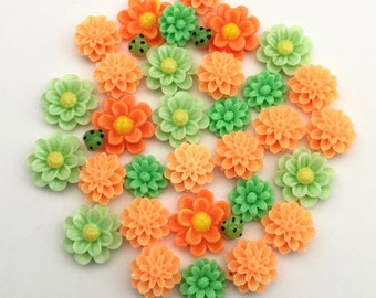 30 pcs resin cabochon flowers mix ,assorted sizes,#FL020