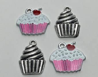 4 cupcake charms antique silver and enamel,17 mm to 20mm # Ch 008