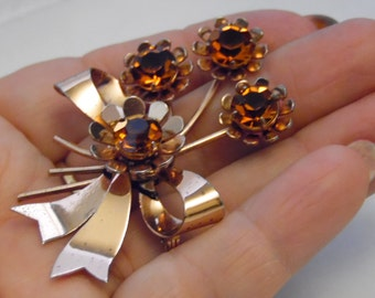 Sterling Silver Brooch/Pin Dark Orange Color Stone Flowers With Bow-Hallmark Sterling on back of Brooch/Pin