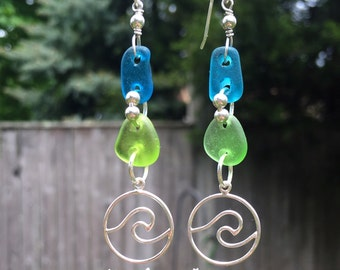Tropical Oasis Nami wave earrings, Sea glass earrings, electric blue sea glass earrings, green sea glass, ocean earrings, silver wave