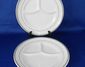 "Sterling China Restaurantware 8 3/4"" Divided Grill Plates."