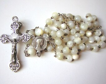 Antique religious rosary,  Mother of pearl round  beads, Virgin Mary medal & beautiful cross,silver,  16.53""