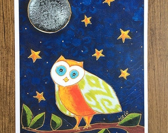 Poster - illustration - art - print - children room - decoration - owl