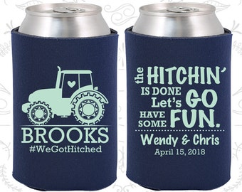 The Hitchin is Done, Lets go have some fun, Wedding Decoration, Farm Wedding, Country Wedding, Tractor Wedding, Wedding Can Coolers (548)
