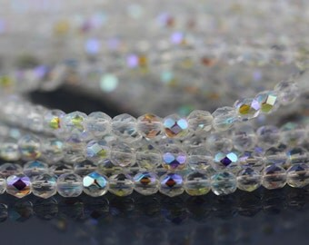 50 Crystal AB, 4mm Czech fire polished glass faceted round beads (FP-4M-52)