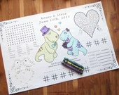 Kids Wedding Activity Placemat PDF.  Your Names & Date. Customized. Coloring, Maze, Connect the Dot. Children's Entertainment.