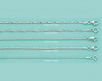 A-1) 925 Solid Sterling Silver Chain Necklaces-Pendant Chains-Italian Solid Sterling Silver Chains-Polished