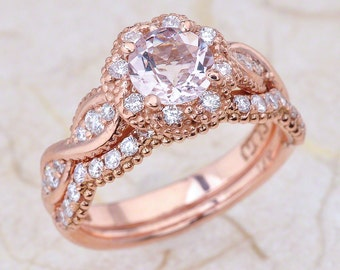 Morganite Engagement Ring Bridal Set, Morganite Bridal Set Rose Gold, Morganite Engagement Ring Rose Gold, Rose Gold Morganite Ring