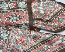 La Dear Silk Scarf - Vintage 60s Batik Print Square Scarf by La Dear Brown Coral Teal Floral Stripes Twill Square Scarf Made in Italy