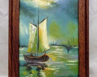 Jarvis '73 Sailboats Seascape Oil Painting w. Vintage Decorative Frame