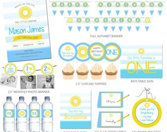 You are my Sunshine BOY Birthday Party Package DIGITAL FILES