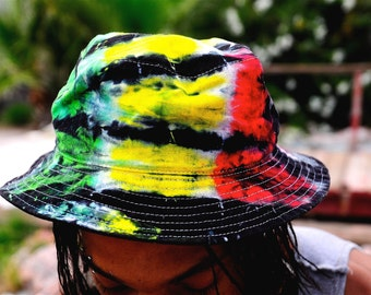 Tie Dye Rasta Bucket Hat, Jamaica Hat, Fisherman Hat