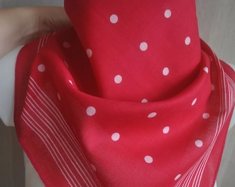 Very cute vintage raspberry red white polka dots cotton square scarf bandana .