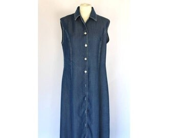 MAXI COTTON DRESS / Large Maxi Dress /Blue Vintage Dress / Long Denim Blue Home Dress / Maxi Large Dress