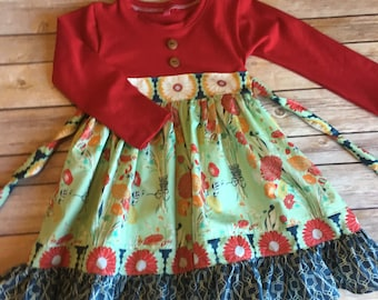 Family picture dress - fall todder dress -red baby dress - mustard floral dress - boutique dress - long sleeve dress for girls