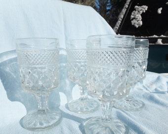 4 Large Wexford Clear, Cut Goblets - Anchor Hocking