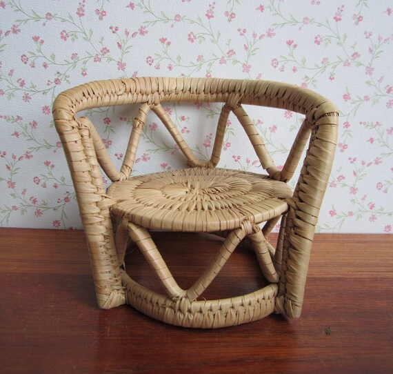 Etsy Vintage Bamboo Furniture: Vintage Wicker Rattan Doll Furniture Low Back Chair Plant