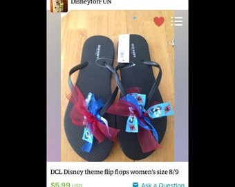 2 dcl flip flops (8/9) one red water bottle and toddler blue tumbler