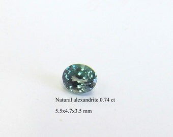 Alexandrite natural for engagement rings 0.74 carat oval.