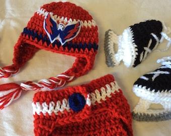 Washington Capital Baby Crochet Hockey Earflap Hat, Diaper Cover, and Skate Booties