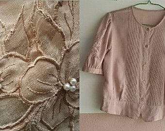 Vintage Cream Blouse - Embroidery Cutwork Peplum Top - Medium