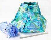 yarn bowl knitting bowl yarn keeper in teal and green ocean colours gift for knitter and crocheter