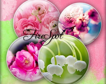Color Flowers - Digital Collage Sheet 20mm, 18mm, 16mm, 14mm, 12mm circle printable images.Glass Pendant.Bottlecaps,Scrapbooking