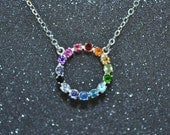 Sterling Silver Rainbow Gemstone Circle Necklace - A prismatic genuine stone with eternity setting. Nickel free and hypoallergenic.
